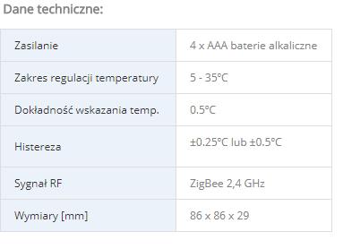 Bezprzewodowy, natynkowy, cyfrowy regulator temperatury sieci ZigBee, 4w1, 4xAAA, biały